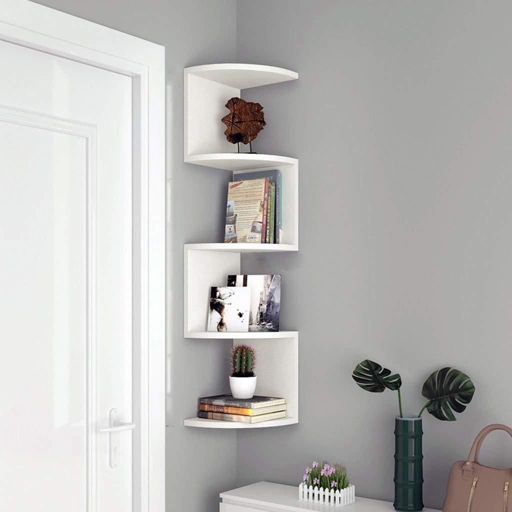 LTJTVFXQ-shelf Corner Bookshelf Shelf Racks Storage Rack Wall-mounted Shelf Wall Corner Bracket Triangle Wall Partition Corner Rack White Wood Grain (Size : 105cm)
