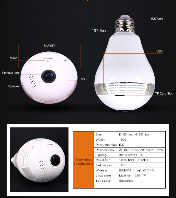 Newest WIFI Bulb Hidden fisheye cellphone ip panormic camera