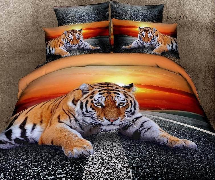 3d Tiger Animal Print Sunsets Bedding Comforer Snow