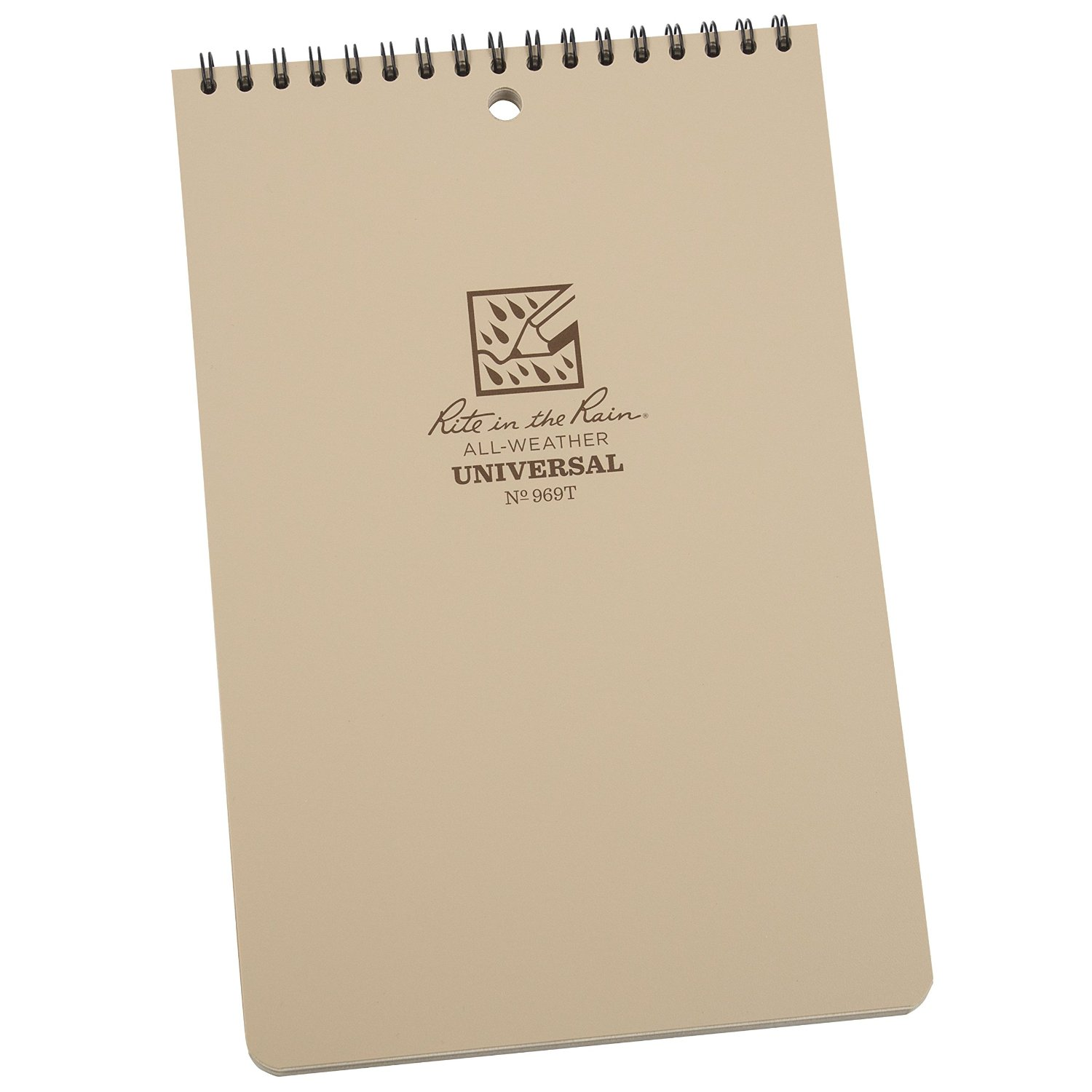 """Rite in the Rain All-Weather 6"""" x 9"""" Top-Spiral Notebook, Tan Cover, Universal Pattern (No. 969T)"""