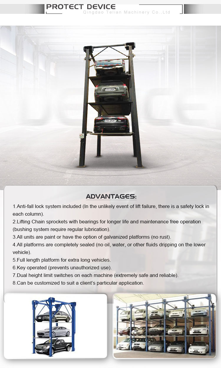 Four Post Vertical Car Parking Lift Electric Stereo Garage Car Stacker Two Levels Three Cars Parking Lift