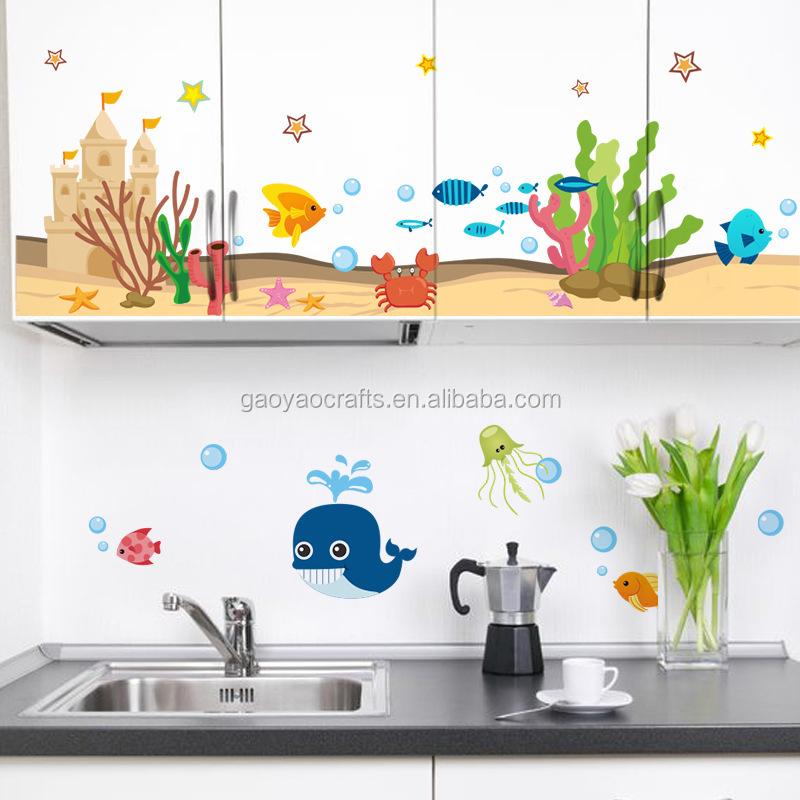 Fantastische onderwaterwereld stickers keuken glas dubbele ...