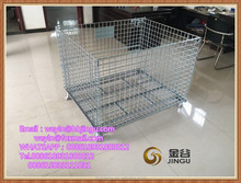Beautiful white coating steel warehouse cage/steel wire storage cage with wheels