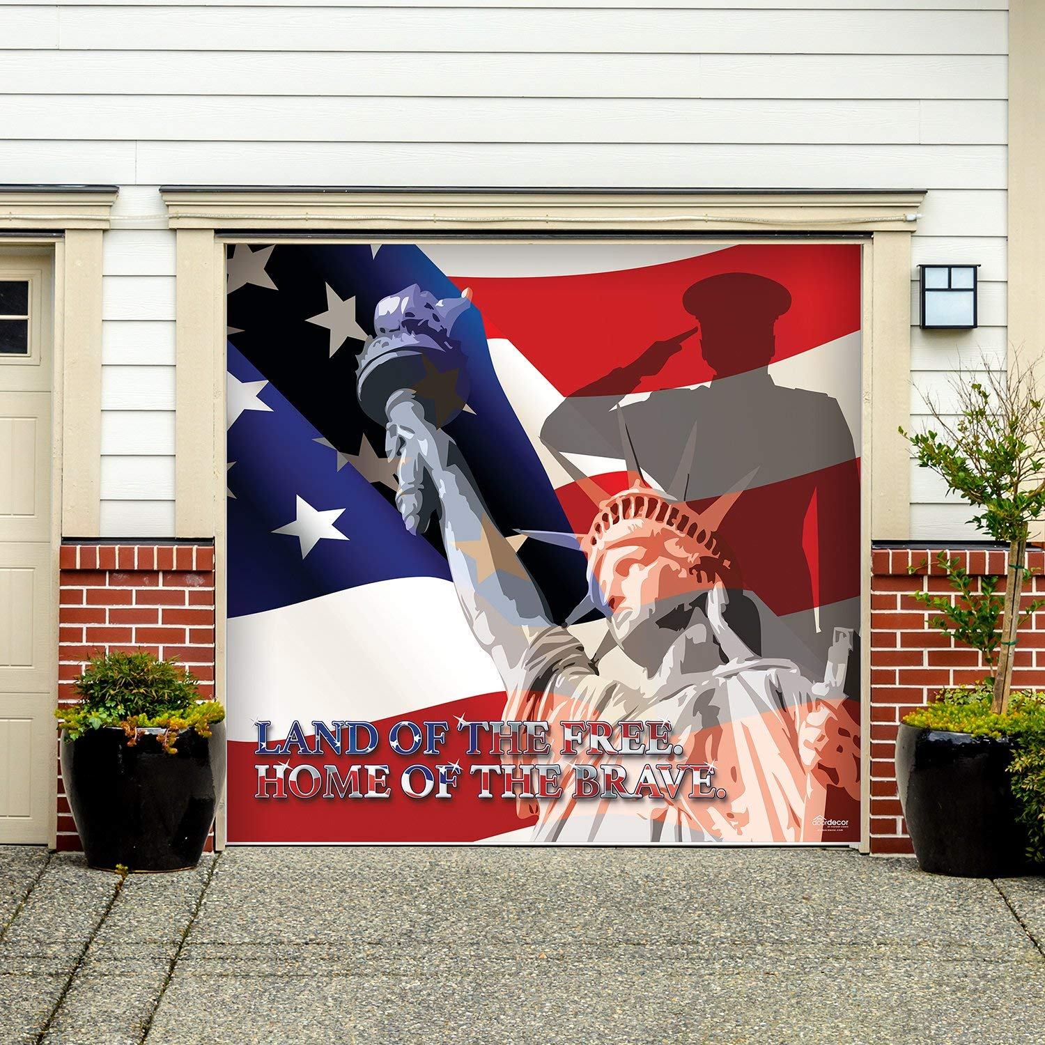 Victory Corps Outdoor Patriotic American Holiday Garage Door Banner Cover Mural Décoration - USA Military Brave and Free Patriotic Garage Door Banner Décor Sign 7'x8'