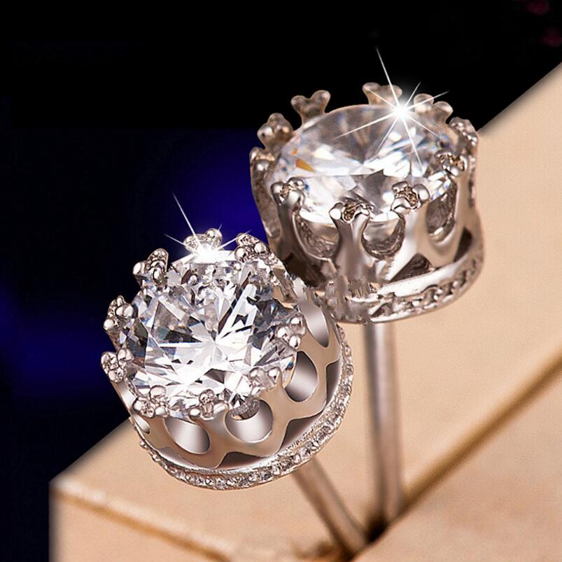 Custom Fashion Jewelry 925 Sterling Silver Crown Stud Diamond Earrings
