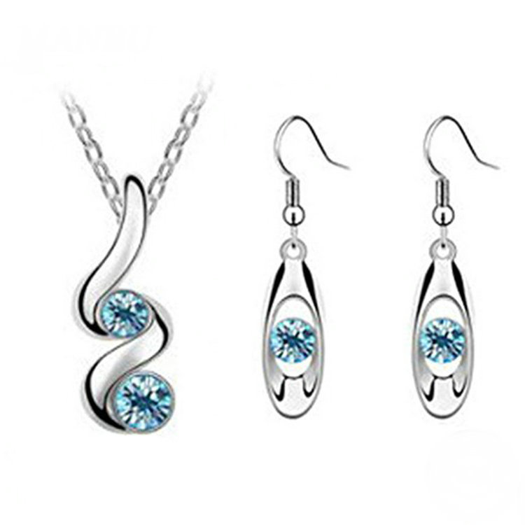 Romantic Wedding Creative Blue Synthetic Jewelry Set with Necklace Earrings фото