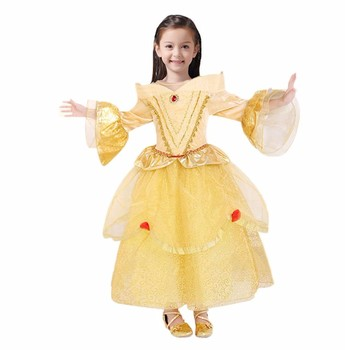 Girls Belle Cosplay Costume Children 5 Layers Princess Dresses Kids