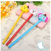 Creative cartoon pencil with animal eraser topper pencil for stationery