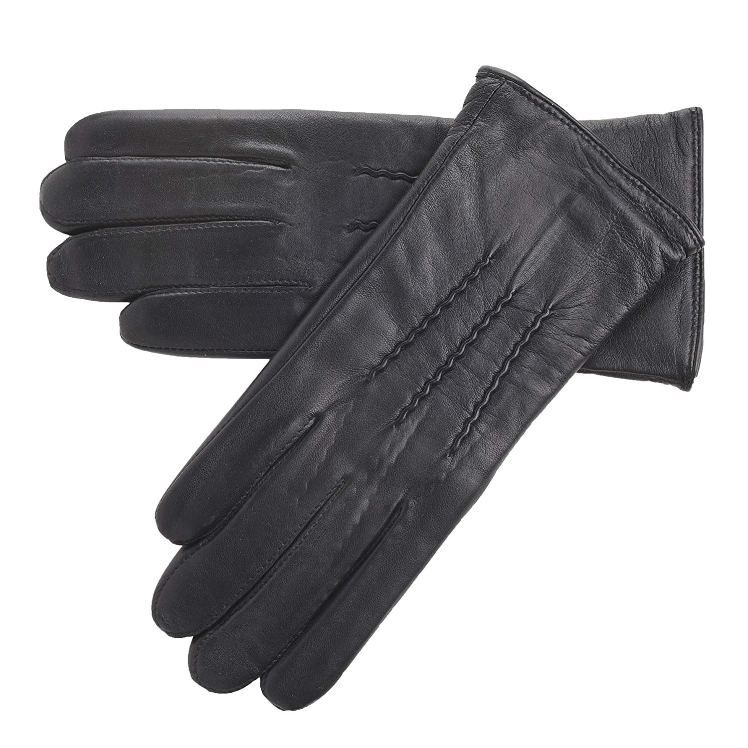 9da2b210c4627 Get Quotations · Lambland Ladies Genuine Leather Driving Gloves with  Central Stitch Design - Black, Navy, Plum