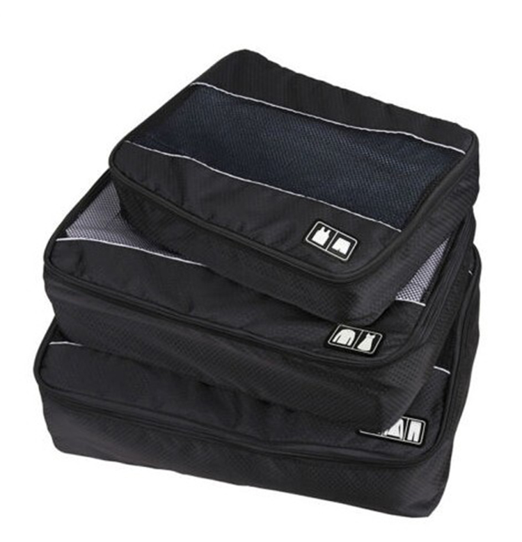3 pcs Nylon Unisex Packing Cubes Clothes Luggage Travel Bag Organizer