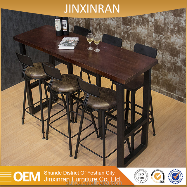 Industrial Iron Furniture Commercial High Top Long Narrow Wood Bar Tables