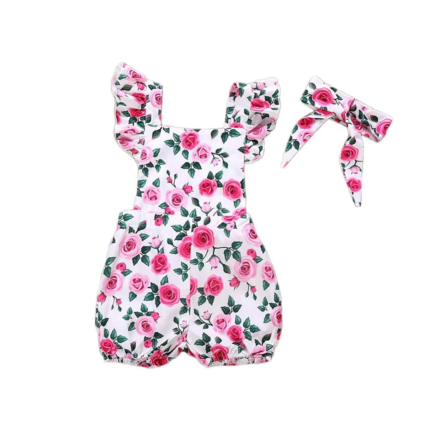 6dfb82a2a72 Get Quotations · Overmal 2PCs Infant Baby Girl Flower Printed Romper Clothes +Bowknot Headband Outfit Sets