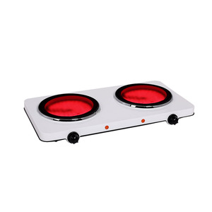 Portable electric infrared cooker 2 burner hot plate,ceramic glass plate,table or countertop use