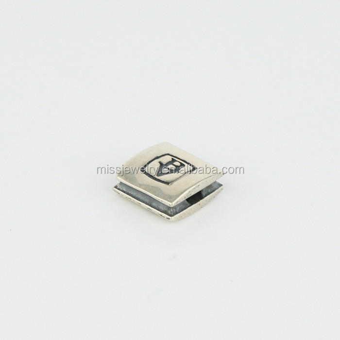 Custom Logo Engraved Metal Square Beads Stainless Steel
