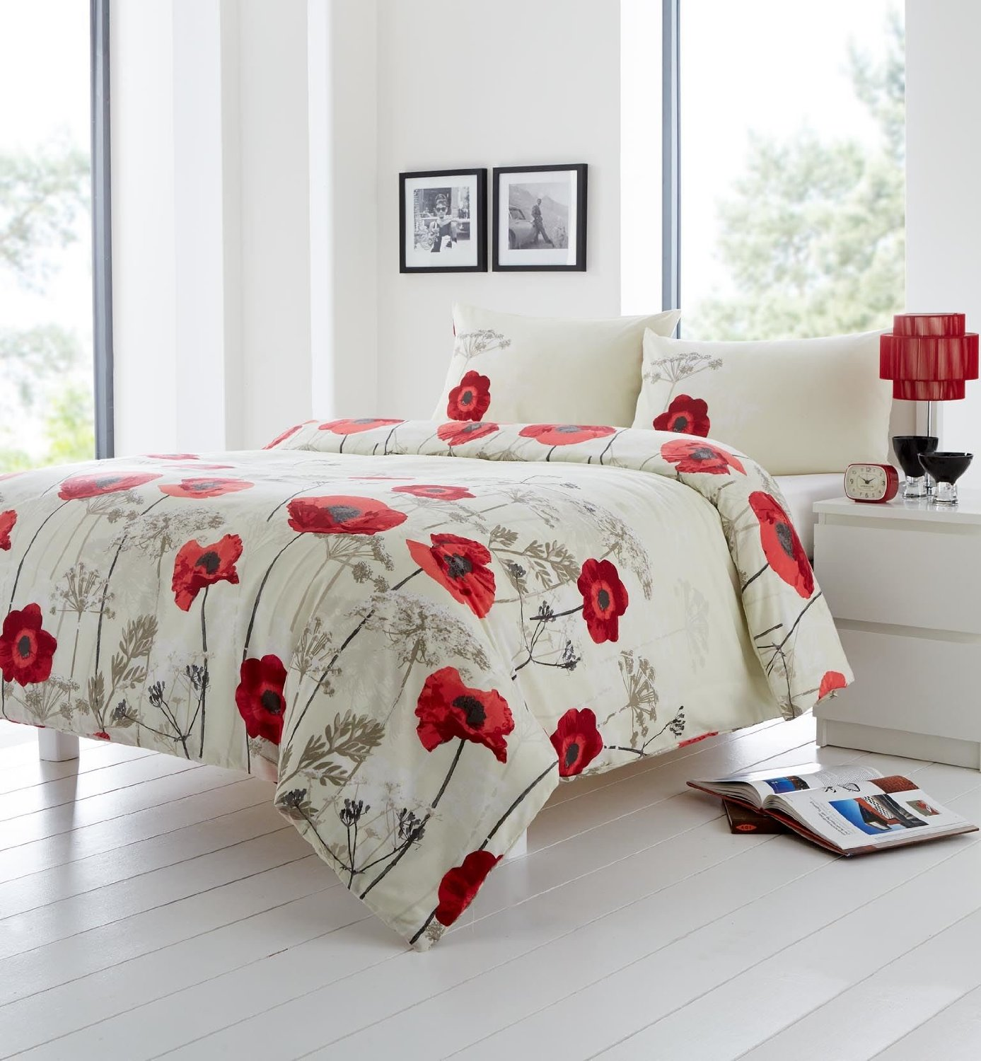 Get Quotations · RED CREAM BEIGE FLORAL POPPY USA FULL (200CM X 200CM   UK  DOUBLE) 120