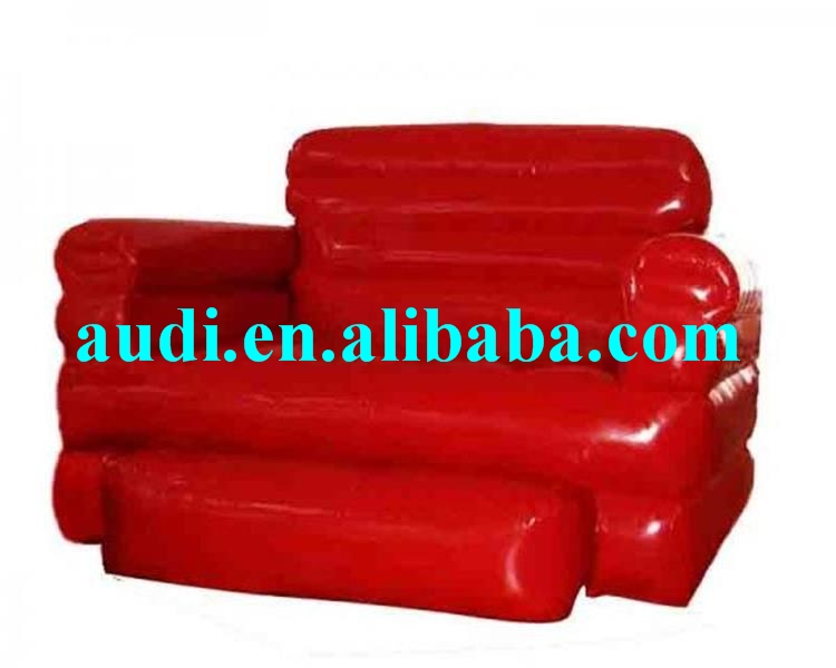 Home Red Pvc Tarpaulin Folded Inflatables Furniture Couch Sofa For Living Room