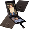 Black Leather Beautiful Handmade Folding 2 Family Photos Boy and Girl Photo Frame with Closure