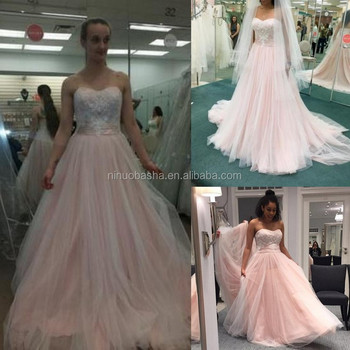 Nw1224 Blush Pink Soft Tulle Wedding Dress Romantic Lace Appliques ...