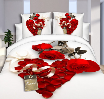 White and Red Rose 2 - Reactive Printed 3d Bed Set 3d Bedding Set Linen Cotton Queen King Size/bedclothes Duvet Cover Red Black