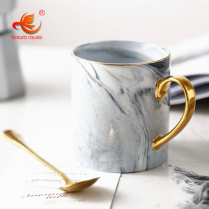 WKTM014 manufacturer new design marble look custom coffee mug ceramic with lid