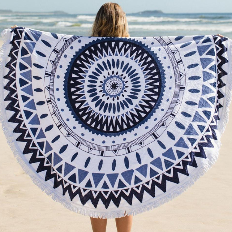 Wholesale Alibaba Customized Mandala Tassels Round Microfibre Beach <strong>Towel</strong>