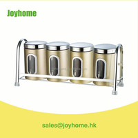 china wholesale high grade stainless steel tea canister with rack