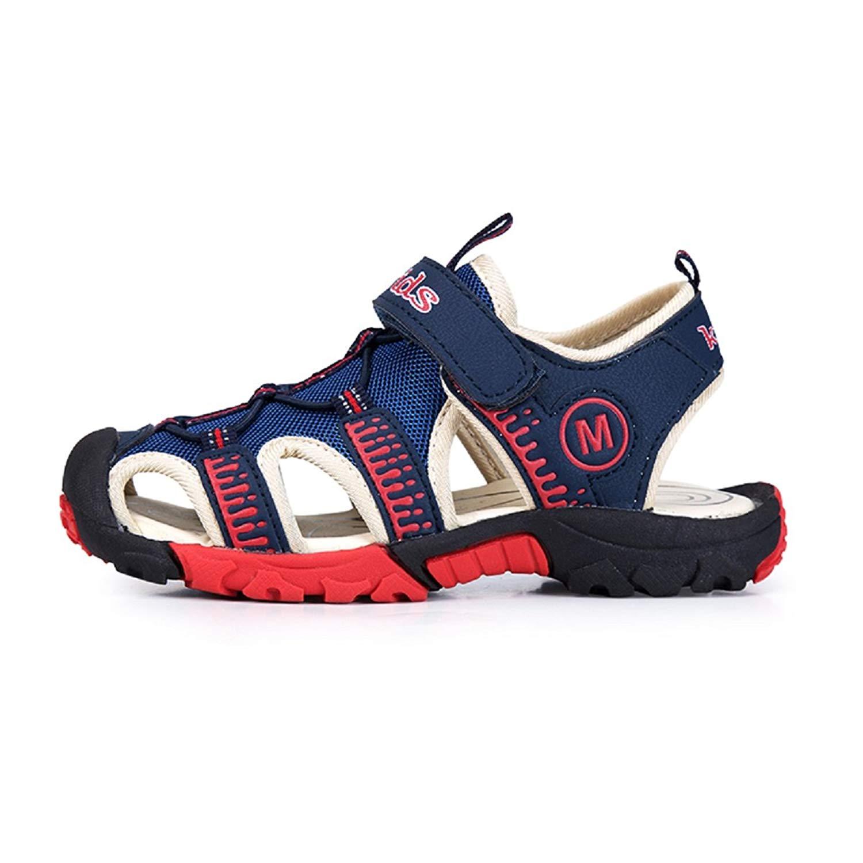 f4916c21c4c Get Quotations · LUNGJI Boys Velcro Beach Sandals Summer Water Sandals  Closed Toe Shoes