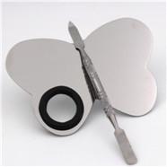 Großhandel Individuelles Logo Make-Up Lidschatten Quadratische Form Edelstahl Palette Kosmetische Mischen Werkzeuge Kit