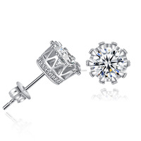 925 Sterling Silver Jewelry Crown Shaped Stud Earrings With AAA Zircon Earrings For Women Fine Jewelry