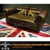 Living room antique wooden button back leather sofa A102 UK flag