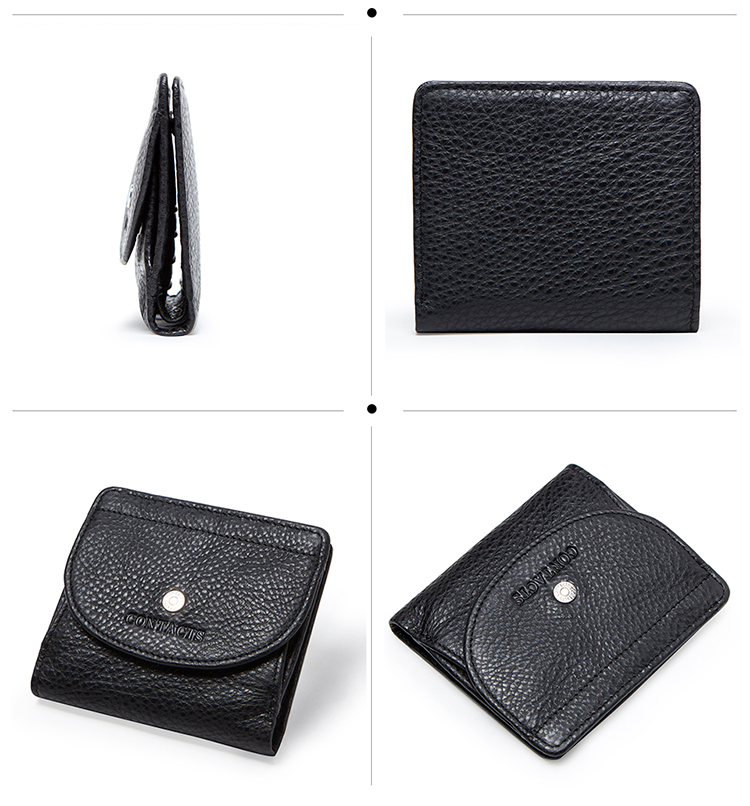 Contacts Brand 2019 Short Female Purse Practical Yet Slimline Coin Cash Cards Holder Mini Genuine Leather Women Wallet - Black
