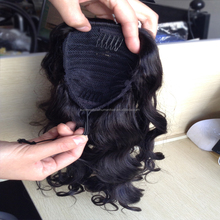 virgin human hair ponytails with string loose curly wave peruvian virgin hair Ponytail hair pieces
