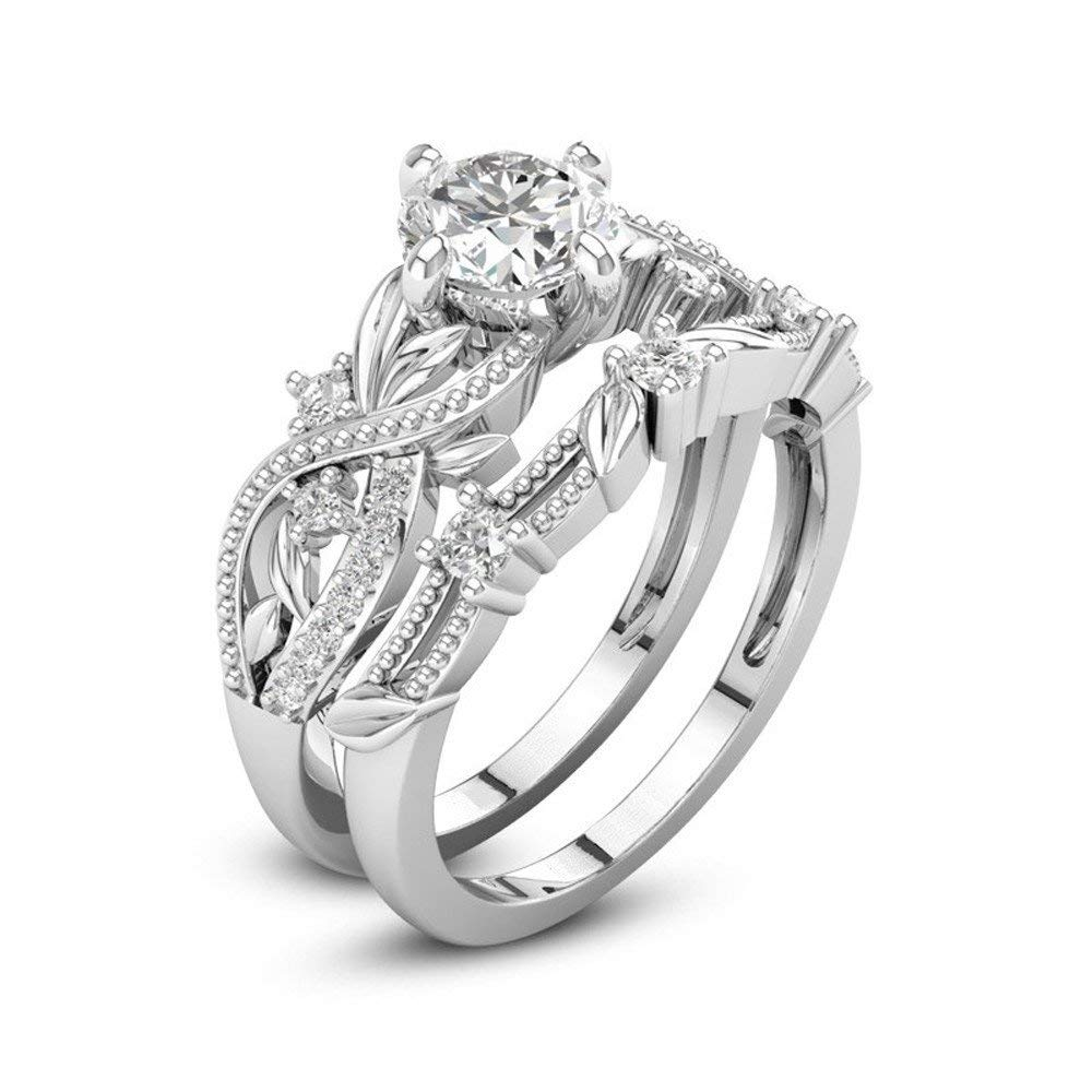 Fashion Ring, Hoshell 2-in-1 Fashion Lady Zirconia Ring Creative Set Ring Party Engagement Ring (❤ 6)
