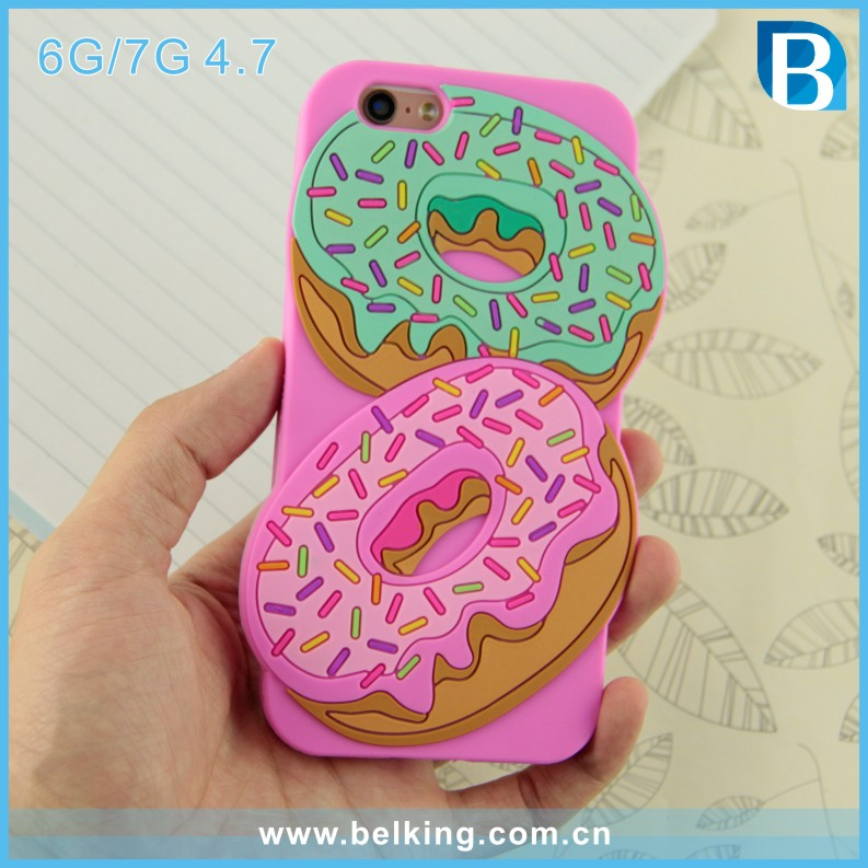 For iPhone 6 Silicone Case Pink for iphone 7 Doughnut Phone Case