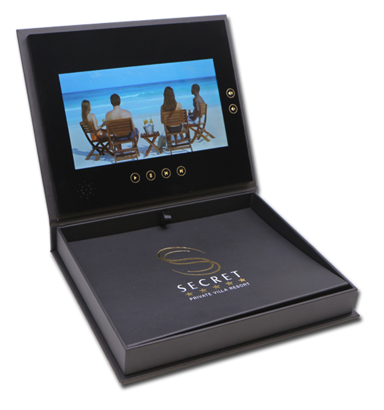 "Mewah PU Kulit 2.4 ""4.3"" 5 ""7"" 10 ""LCD Video Hadiah Kotak Video Brosur undangan"