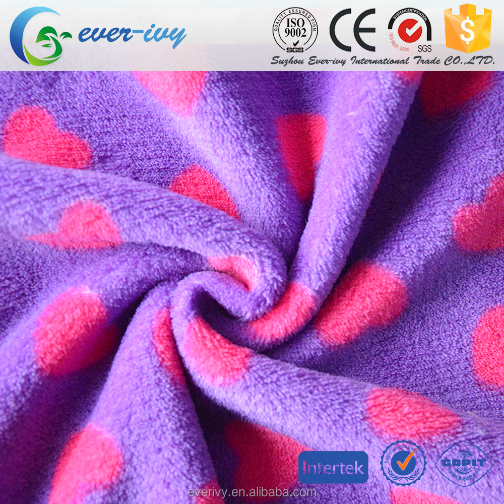wholesale polyester fabric printed fleece for winter home wear