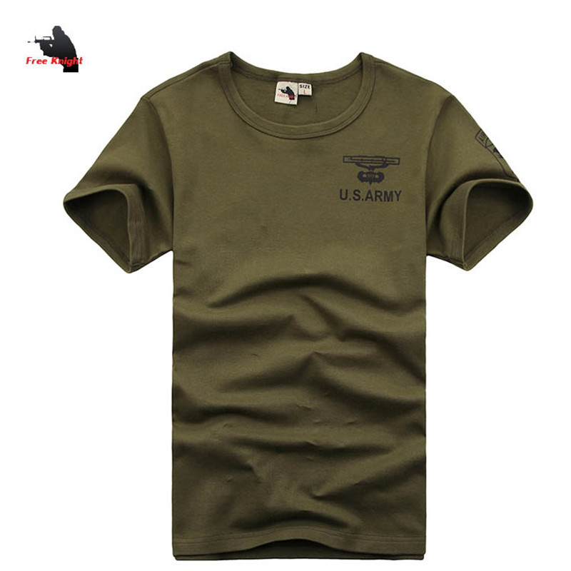 US Army Mens T-shirts Fashion Fitness 2015 Cotton O-Neck Outdoor Sportswear Solid Army Green Summer Tee Shirt Men