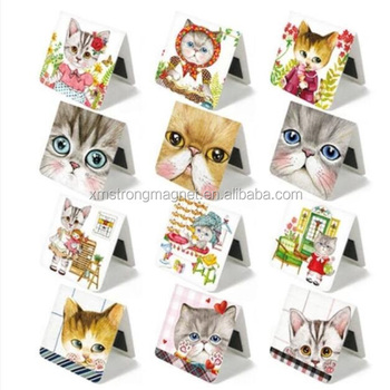 New Square design Sweet Flower Cat series Mini Magnetic Bookmark/office school stationery supplies/Refrigerator magnet