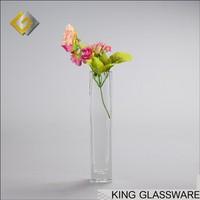 Custom handmade wholesale long glass square cylinder flower vase