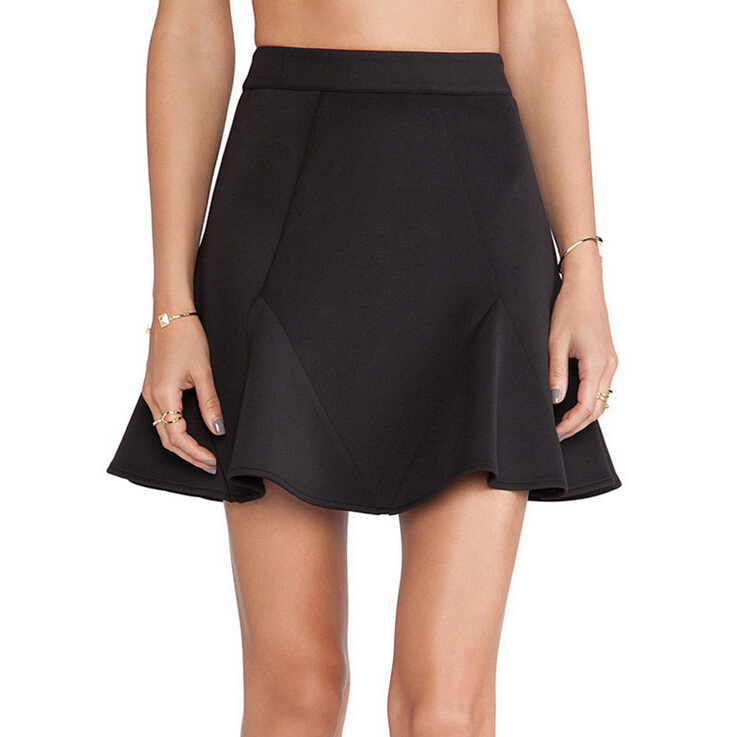 60980914302 Get Quotations · 2015 New Arrival Spring Summer Women Black Ruffle Mini  Skirt A-line Pencil Skirt Casual