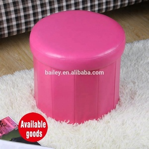 "modern PVC leather15"" foldable storage cube ottoman stool puff"