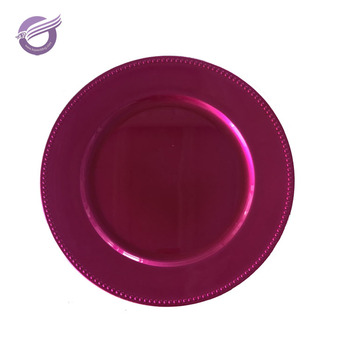 PZ25890 Hot pink christmas cheap bead plastic charger plate