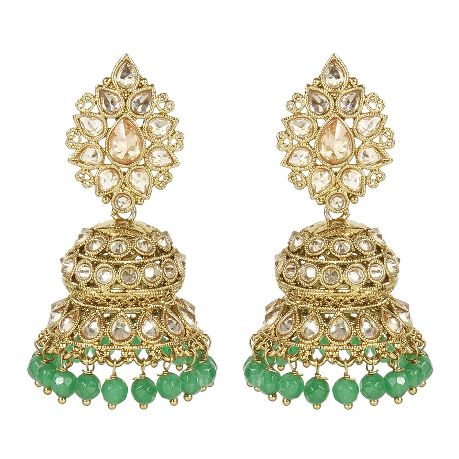 Sporting Traditional Goldtone Acrylic Stone Dangle Earring Bollywood Women Jewellery Jewelry & Watches
