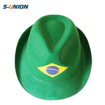 Promotional sun hat non woven fans cap carnival Brazil hat decorate green  felt fedora hats wholesale f13e4ac5880