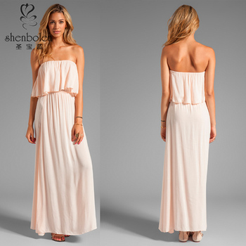 Strapless Maxi Dress Wrap Style Light Pink With Elastic Neckline ...