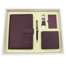 Newest design notebook ,pen,key chain and paper holder gift set for business men