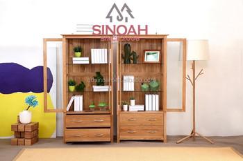 Oak Furniture Glass Display Cabinet Wooden Living Room Furniture