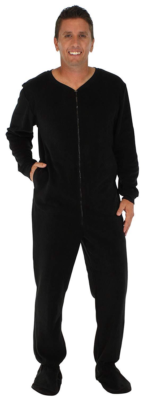 PajamaMania Men's Sleepwear Fleece Footed Onesie Pajamas Black (PM17-M-BLACK-LRG)