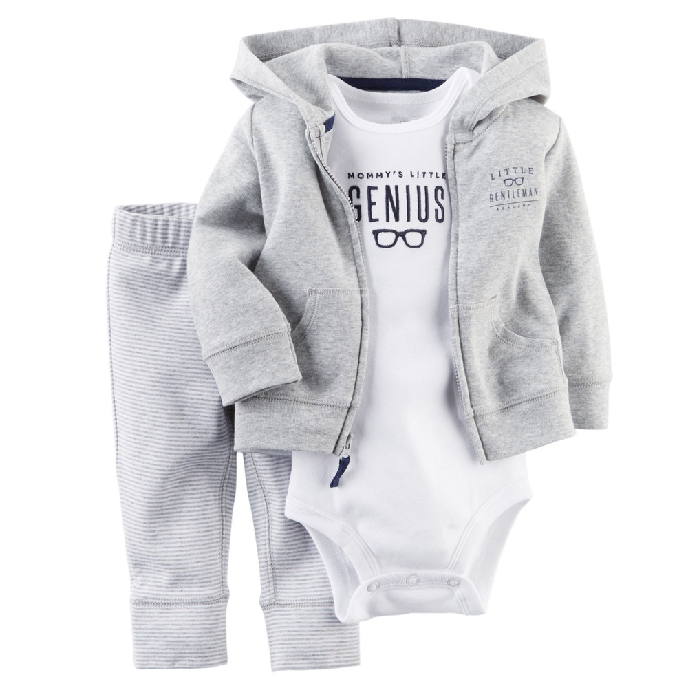 LZ-855,2016 new baby infant clothing set cotton hooded cardigan+trousers+body 3pcs boy girl clothing kids baby clothes