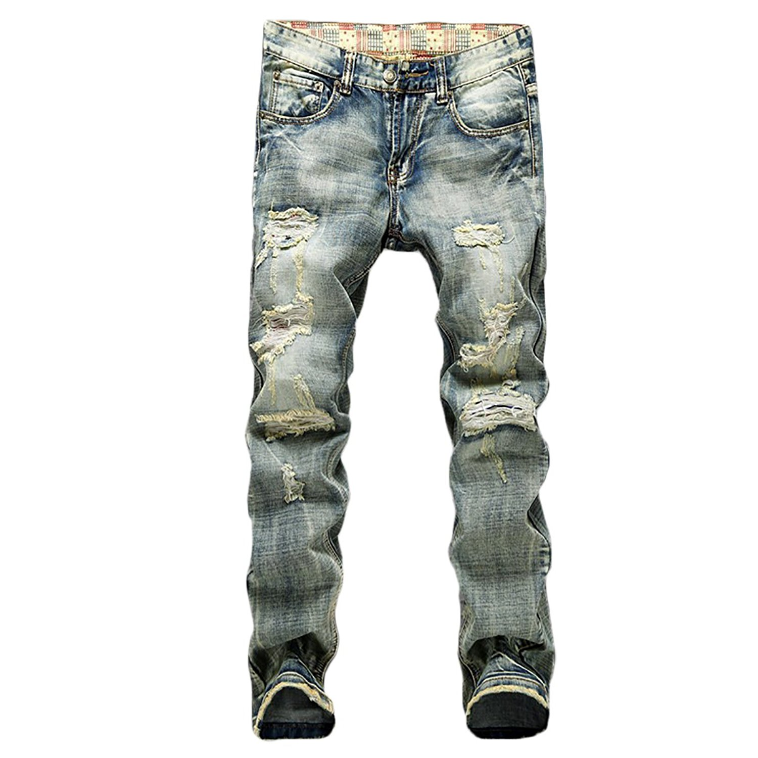 Ameyda Mens Vintage Ripped Straight Fit Denim Jeans Pants with Broken Holes